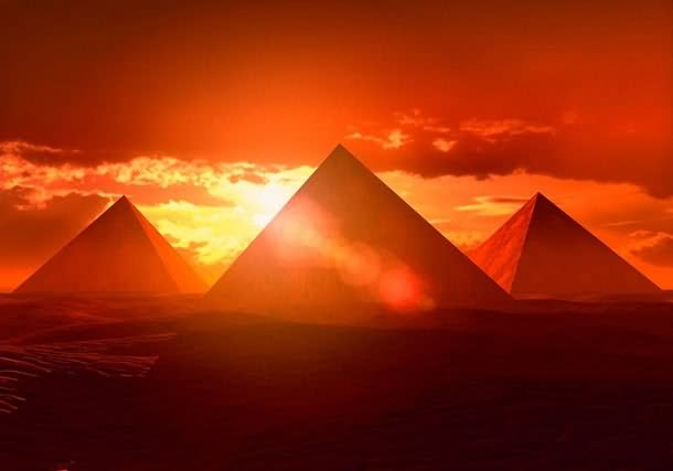 Egyptian Pyramid During Sunset