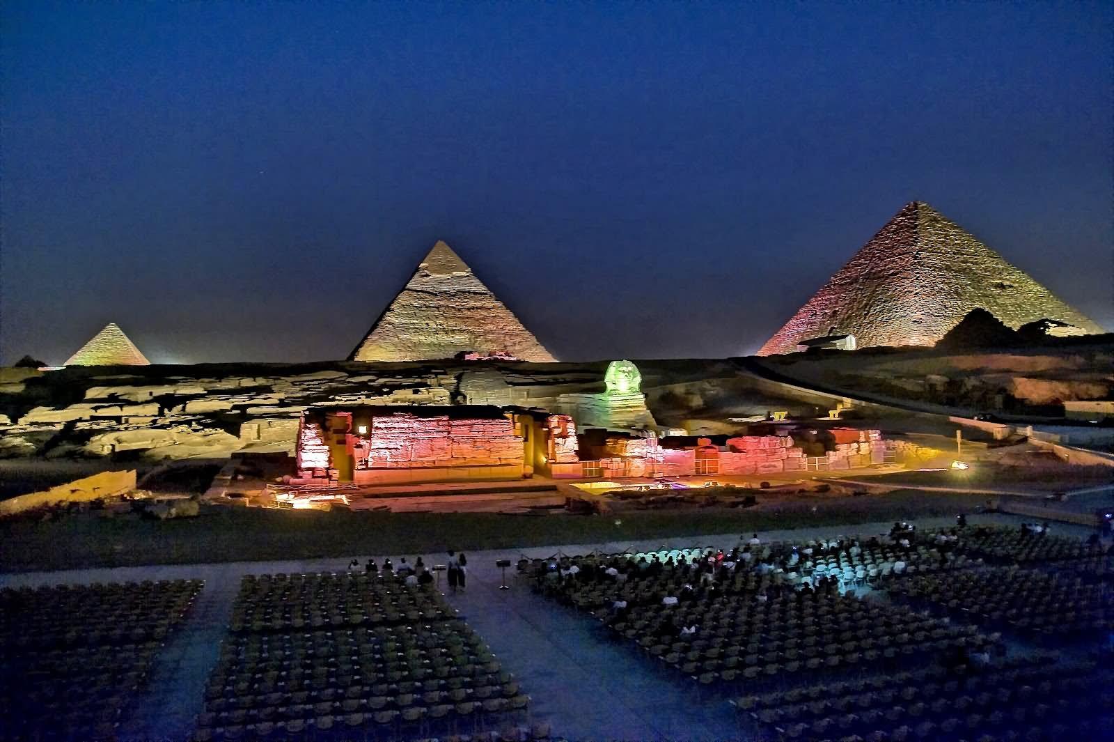 Egyptian Pyramid Looks Beautiful With Night Lights