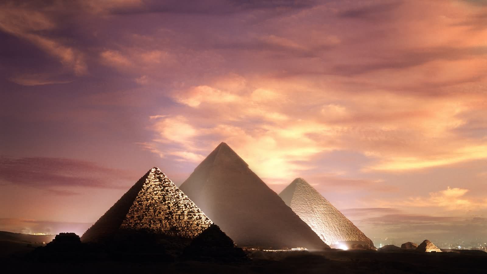 Egyptian Pyramids Illuminated During Sunset