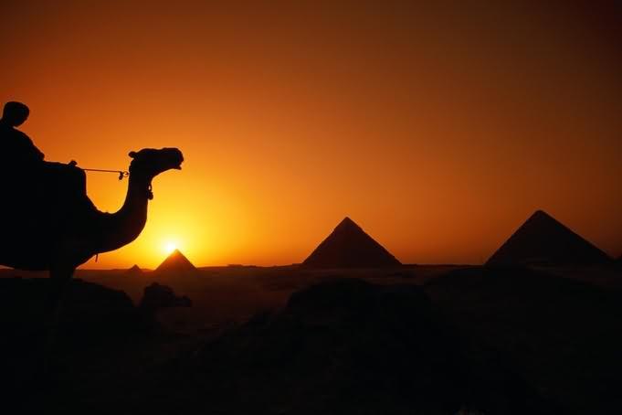 Egyptian Pyramids Sunset Silhouette View