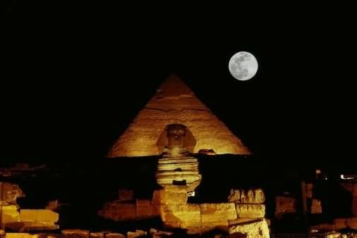 Full Moon Over Pyramid Khufu And The Great Sphinx Of Giza At Night