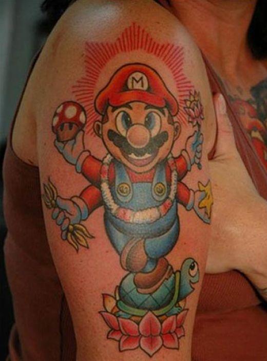 Geek Mario Tattoo On Girl Right Half Sleeve