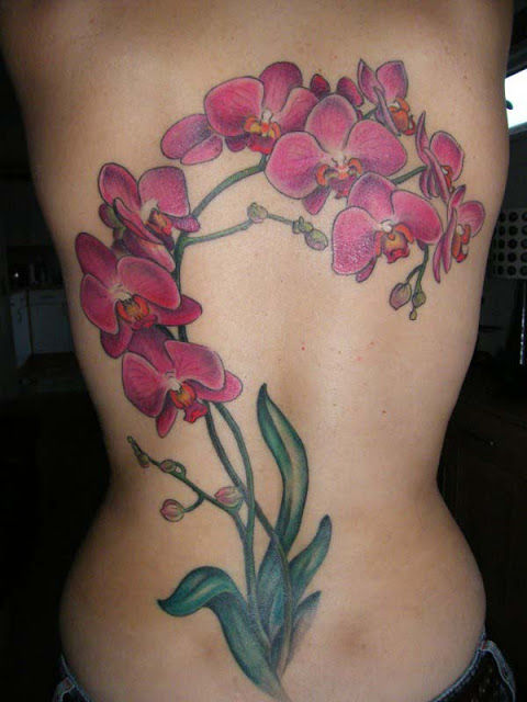 girl full back orchid tattoo. Black Bedroom Furniture Sets. Home Design Ideas