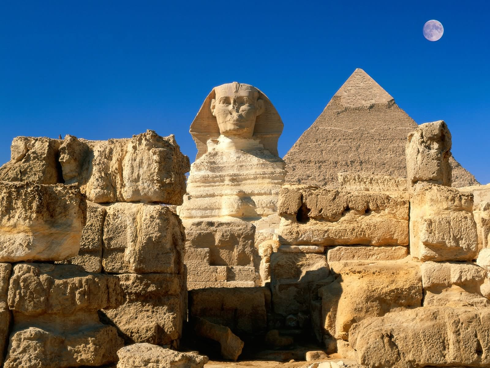 Great Sphinx And Pyramid View With Full Moon Picture
