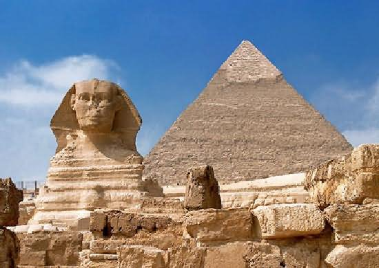 Great Sphinx Of Giza And Egyptian Pyramid Front View Image
