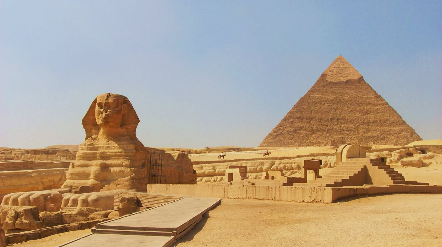 Great Sphinx Of Giza And Egyptian Pyramid