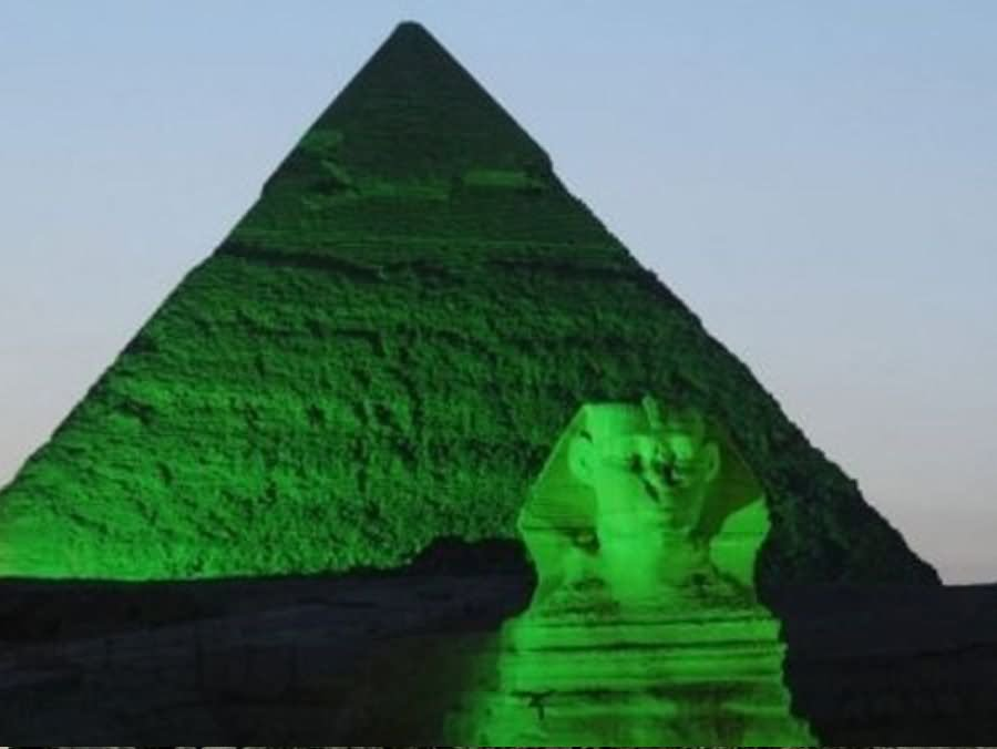 Green Great Sphinx And Pyramid At Night