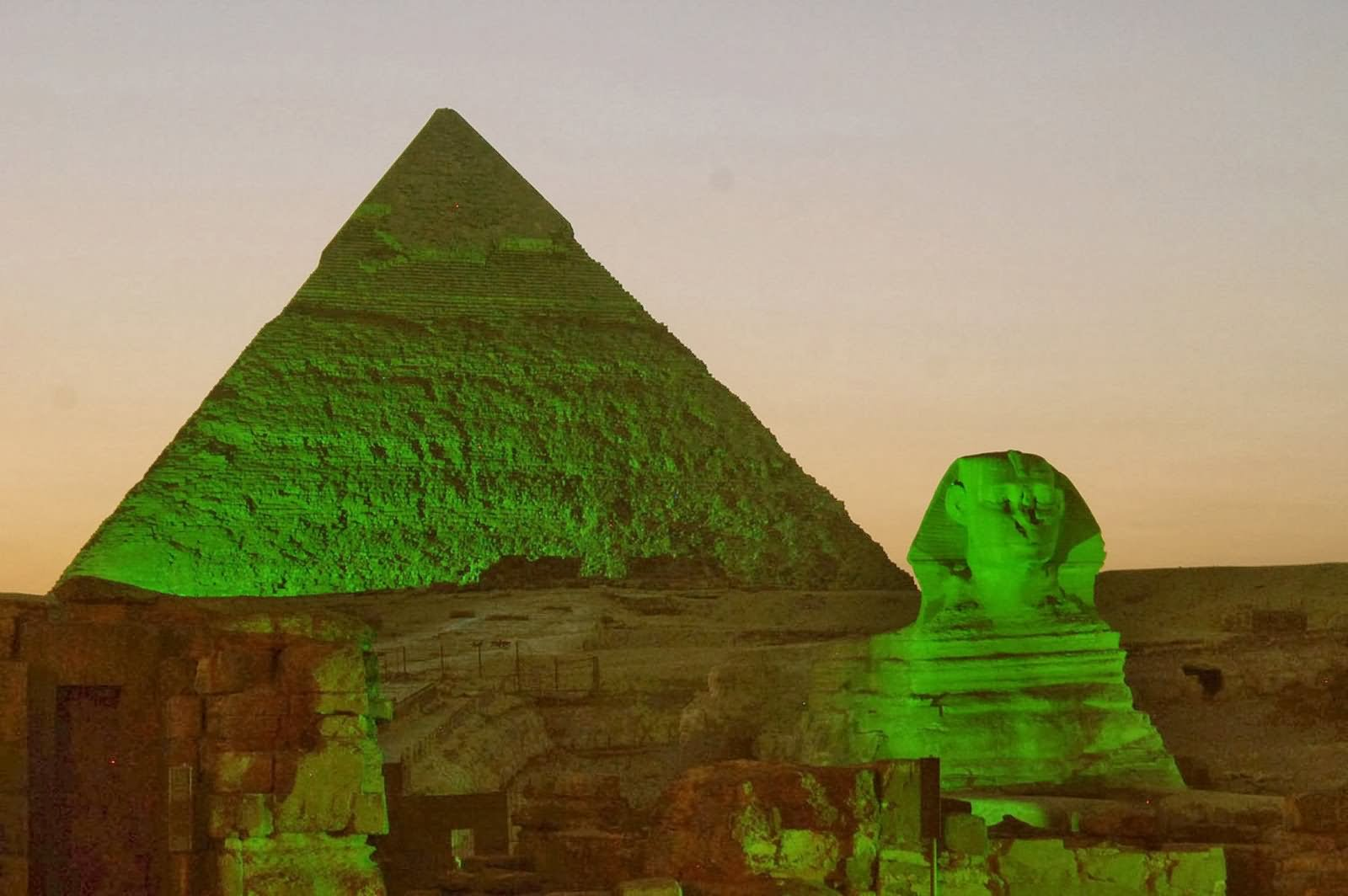 Green Lights On The Great Sphinx Of Giza And Pyramid