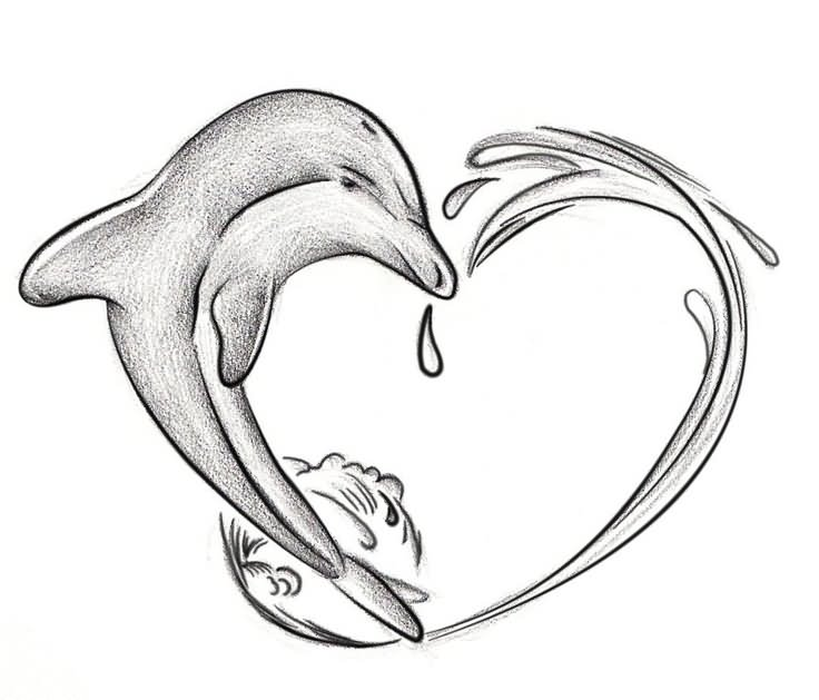 Dolphin outline tattoo - photo#47