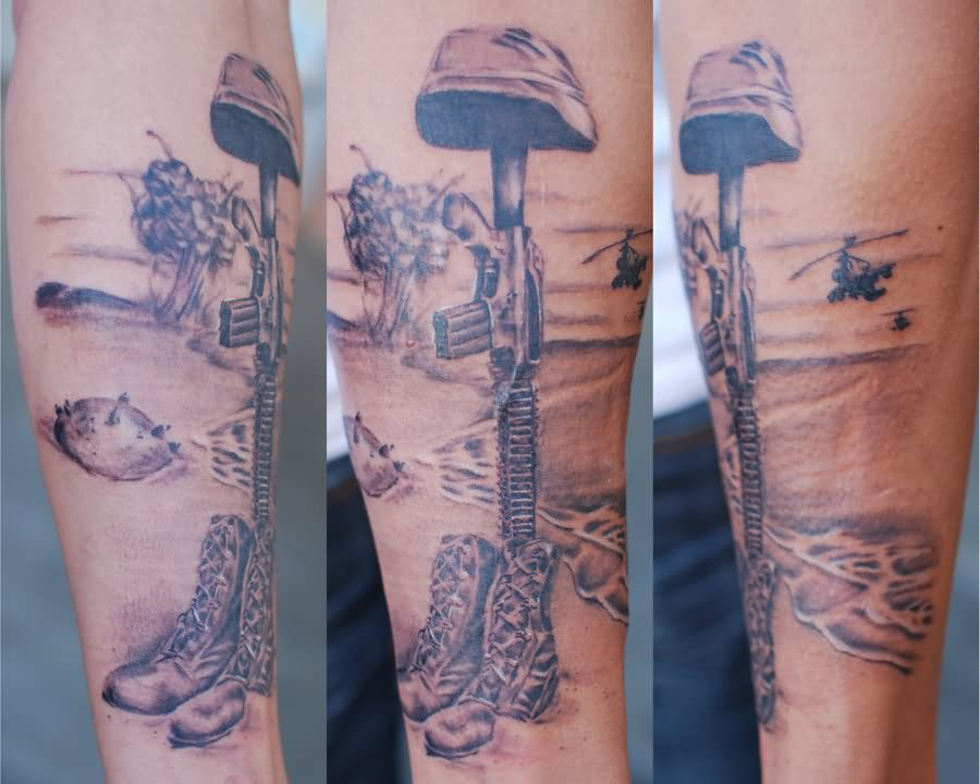 37 memorial military boots rifle helmet tattoos. Black Bedroom Furniture Sets. Home Design Ideas