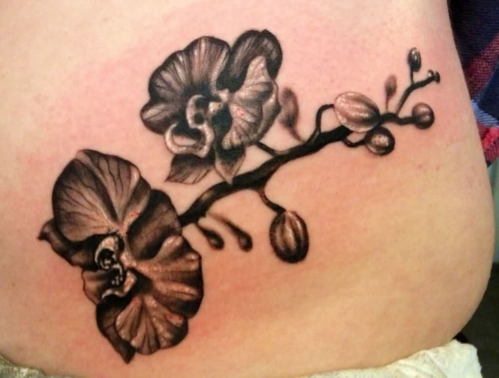 3ad0f60b08f5c Grey Ink Orchid Flowers Tattoo On Lower Back