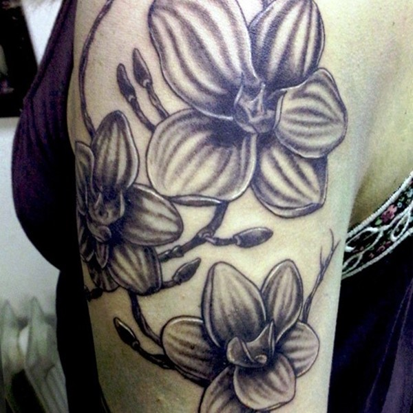 cc1dec701 Grey Ink Orchid Tattoo On Left Half Sleeve
