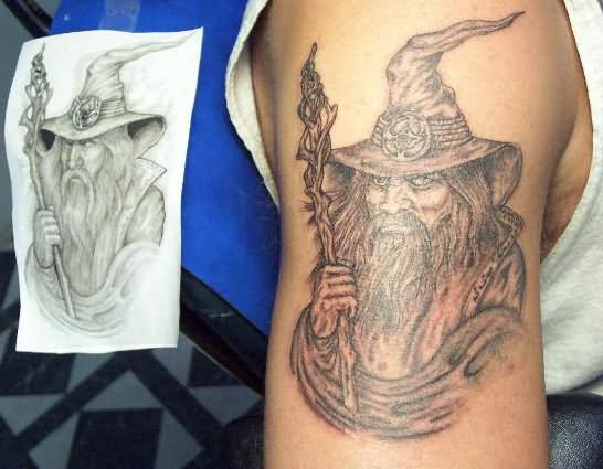 7 wizard tattoos on back shoulder for Ink wizard tattoo