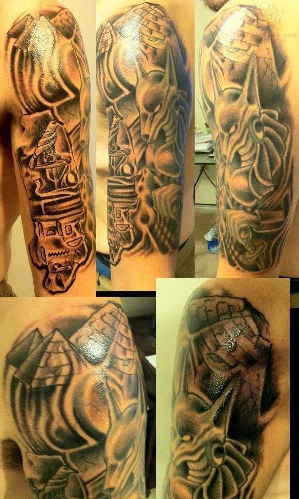 9 Anubis Tattoo On Half Sleeve