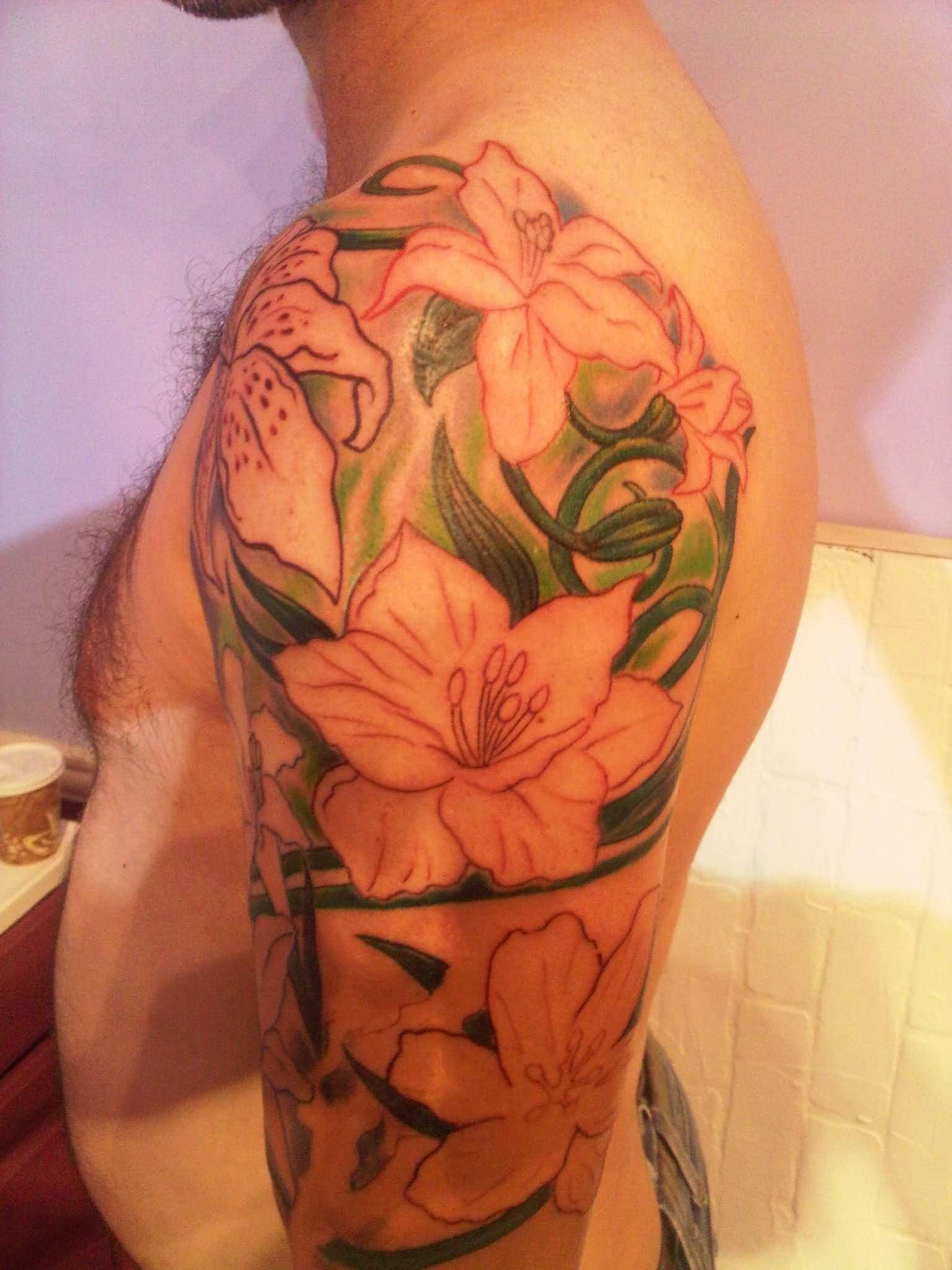 20 amazing orchid tattoos for men. Black Bedroom Furniture Sets. Home Design Ideas
