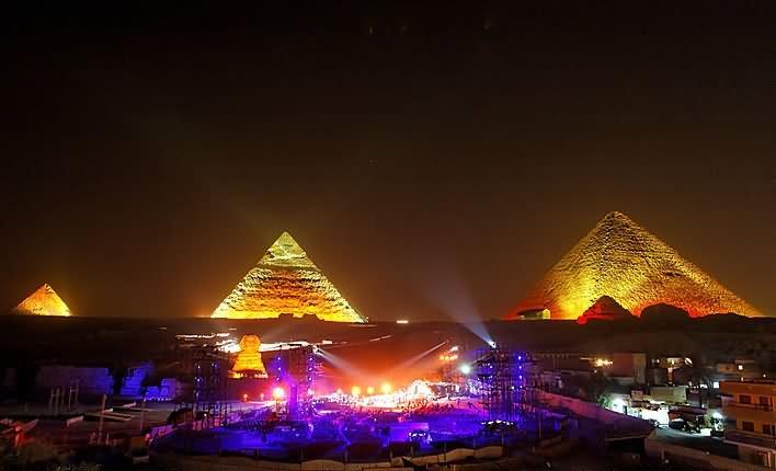 Incredible Music Lights At Egyptian Pyramid During Night