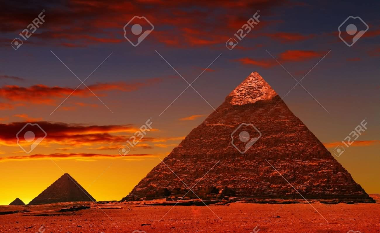 Incredible Sunset View Of The Egyptian Pyramids