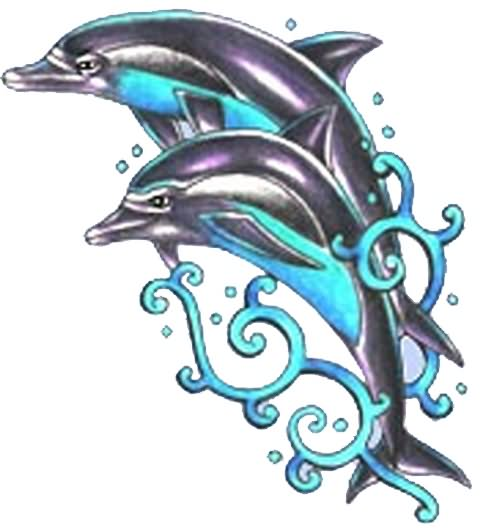 Jumping Dolphin Tattoos Designs