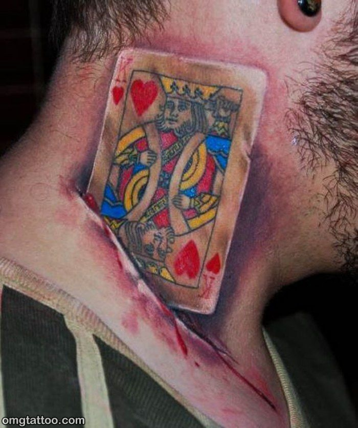 18 king of hearts tattoos for Heart tattoo on neck