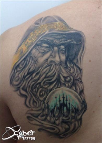 7 wizard tattoos on back shoulder for Wizard tattoo designs