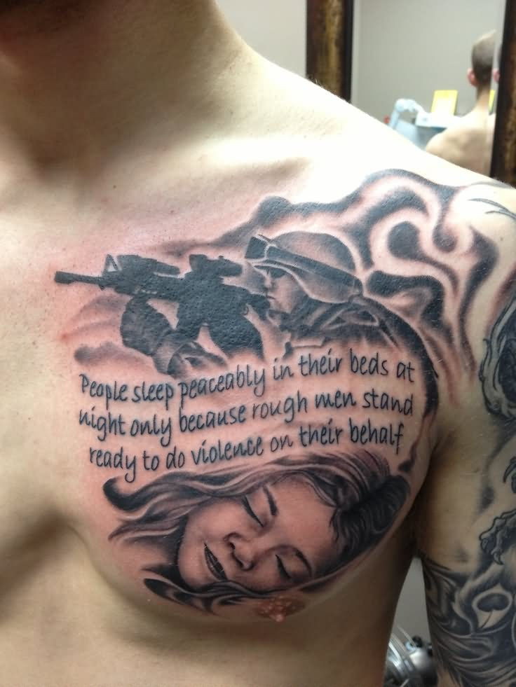 9939882ca Military Quotes With Soldier Tattoo On Man Chest