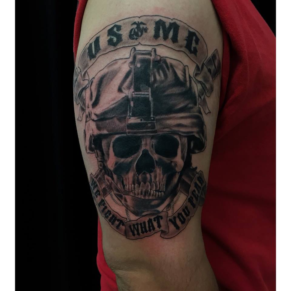 24+ Awesome Military Sleeve Tattoos