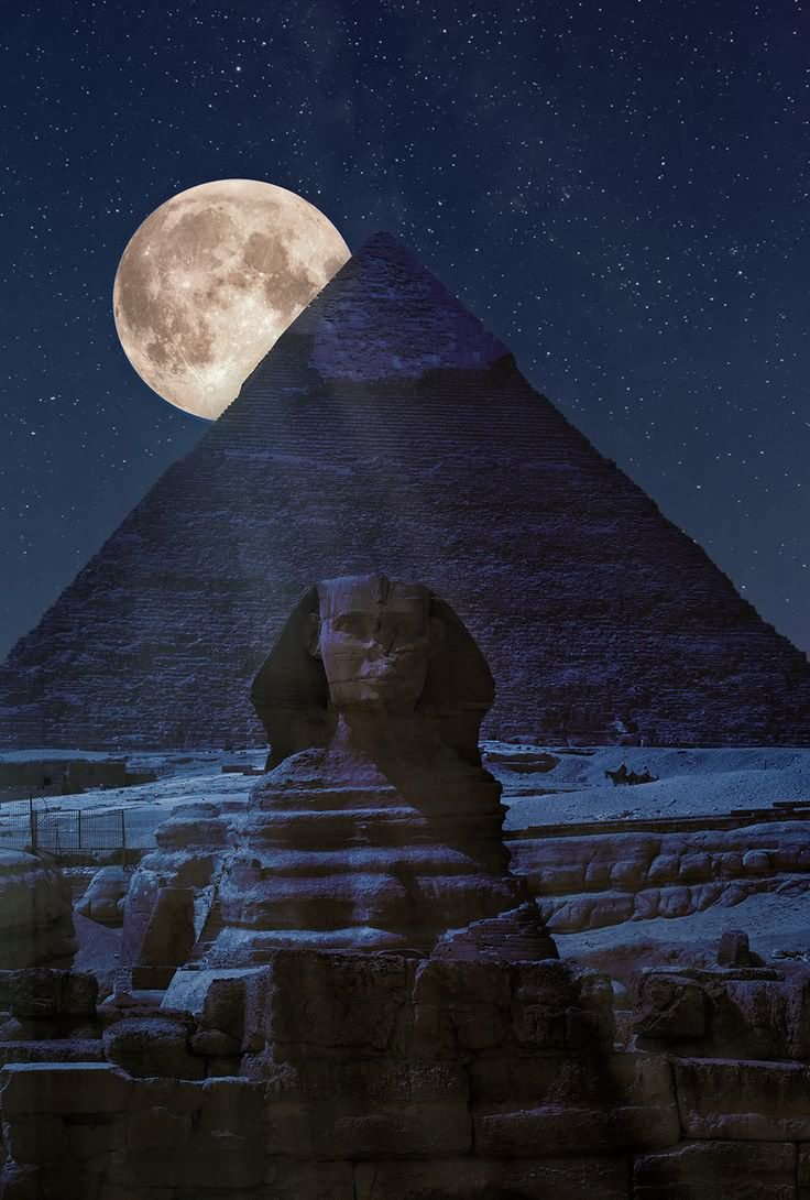 Moon Came Over The Egyptian Pyramid At Night
