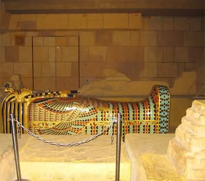 Mummy In Burial Chamber Inside The Egyptian Pyramid