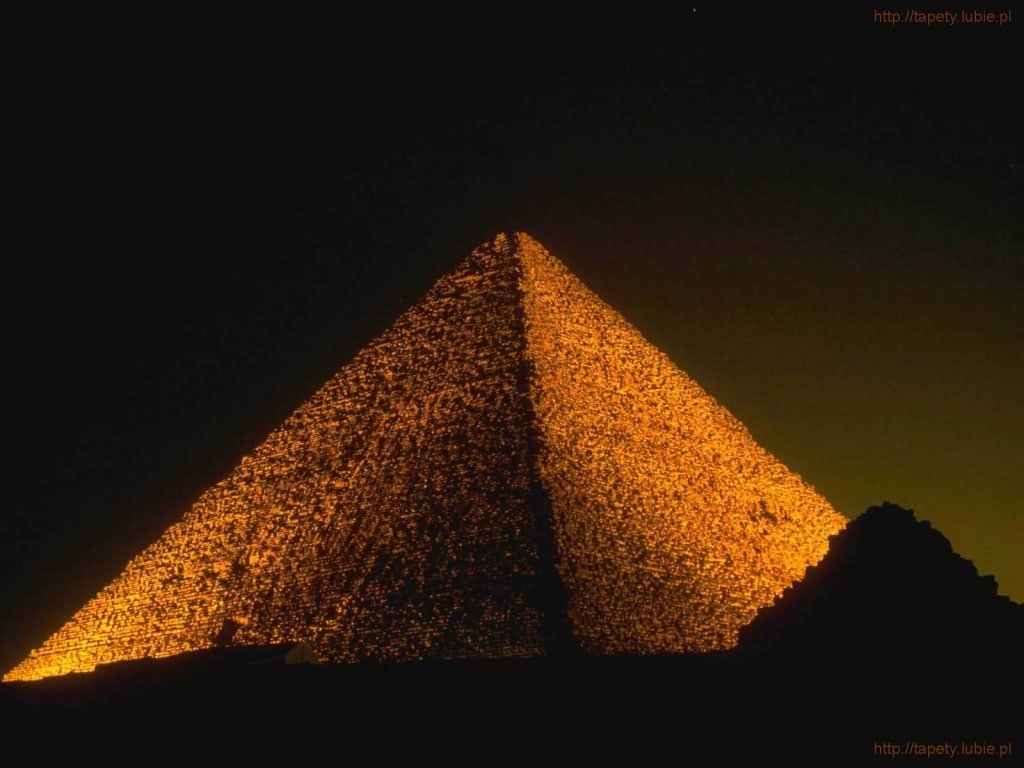 Night Lights At The Egyptian Pyramid