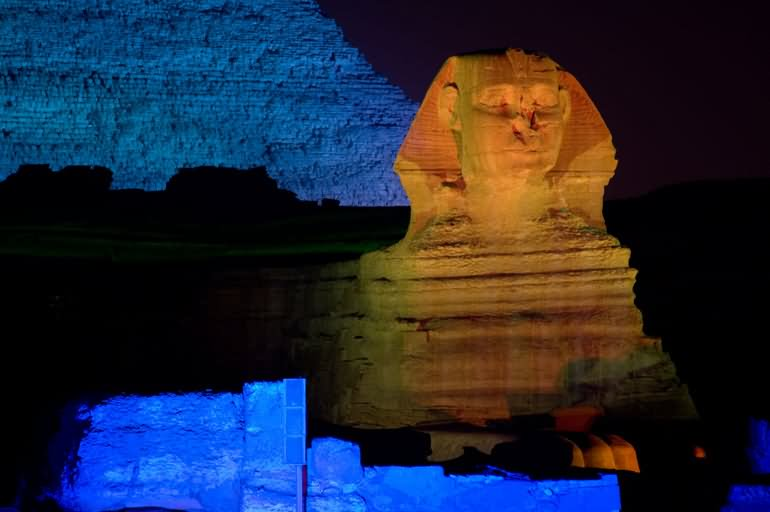 Night View Image Of Great Sphinx Of Giza
