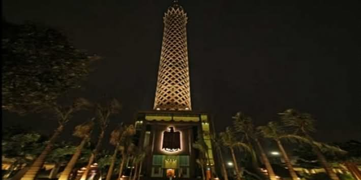 Night View Of Cairo Tower From Below