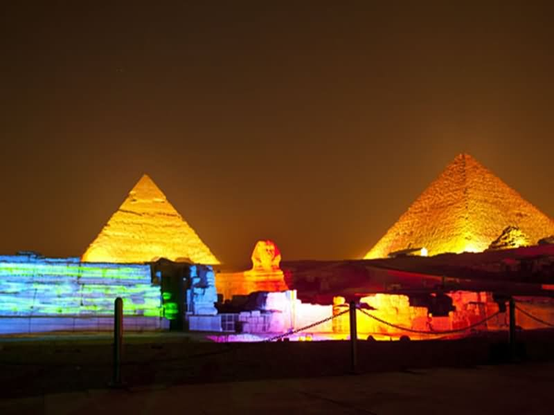 Night View Of Great Sphinx Of Giza And Pyramids