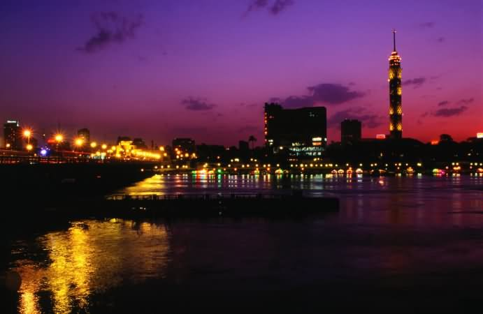 Night View Of The Cairo Tower And Zamalek Area