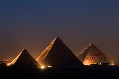 Night View Of The Egyptian Pyramid, Egypt