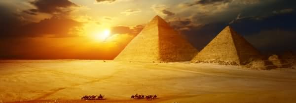 Panorama View Of Egyptian Pyramids During Sunset