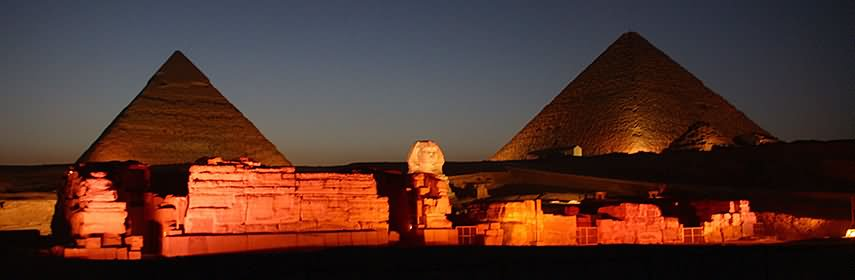 Panorama View Of Great Sphinx Of Giza And Pyramids At Night