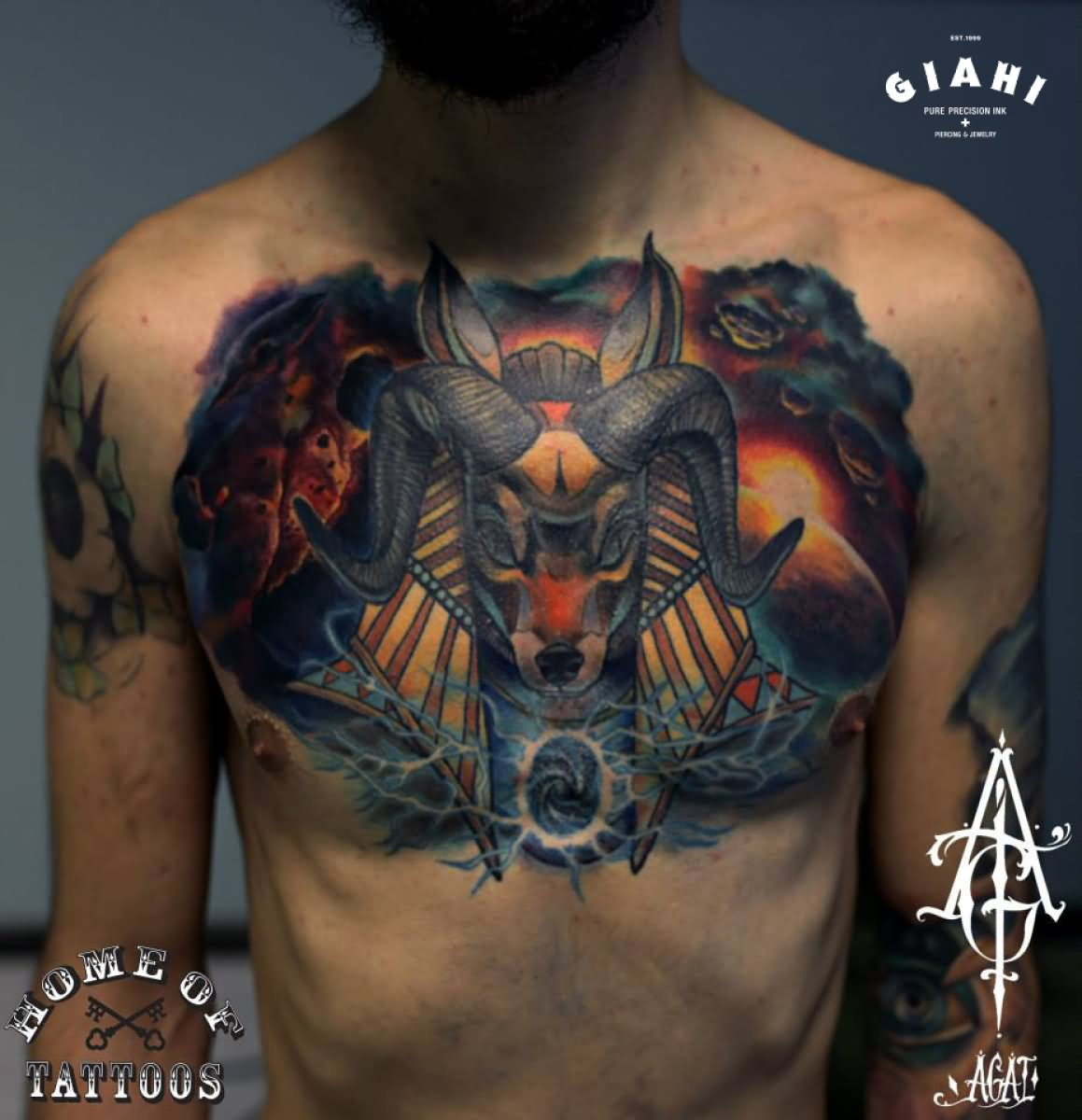 ram head with horns tattoo on chest by agat artemji horns tattoo on chest by agat artemji
