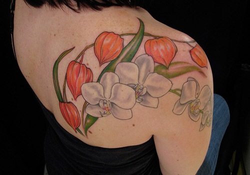 109d30201 Right Back Shoulder Colored Orchid Tattoos