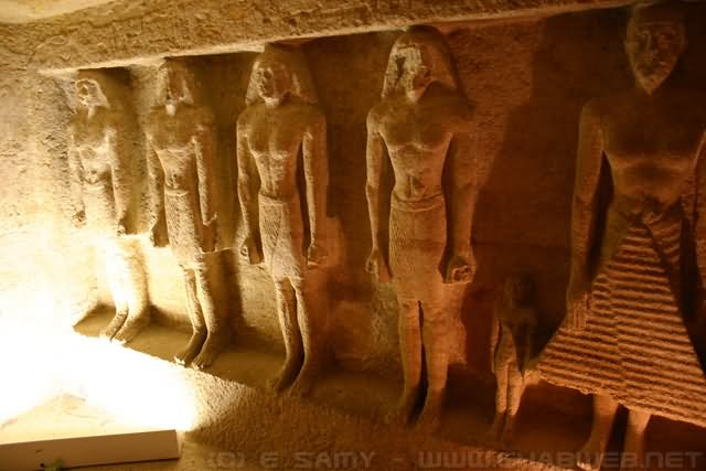 Sculptures Inside The Egyptian Pyramid At Giza