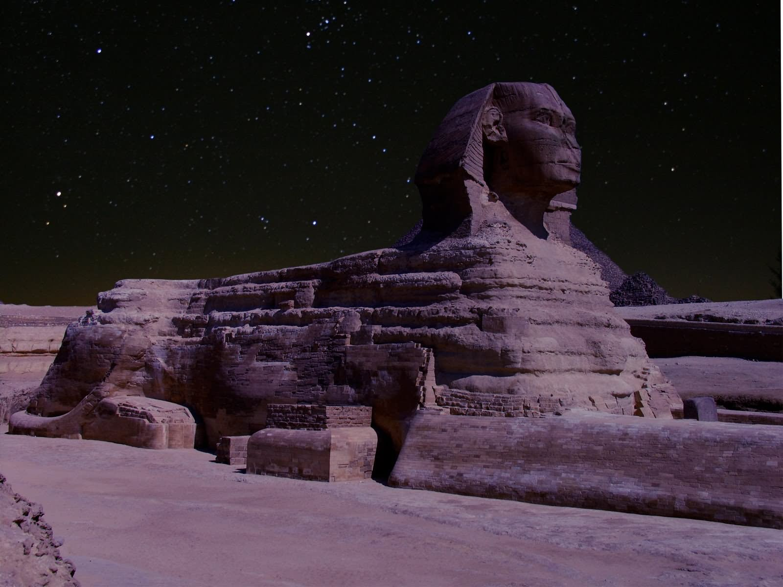 Side View Of Great Sphinx At Night