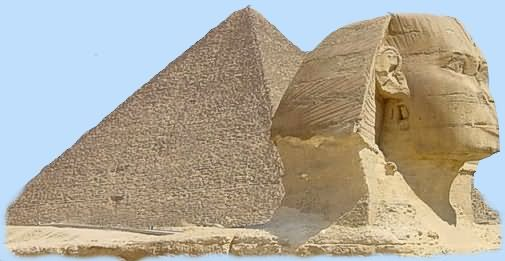 Side View Of Great Sphinx Of Giza And Egyptian Pyramids