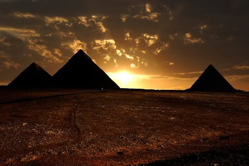 Silhouette View Of Egyptian Pyramids During Sunset Picture