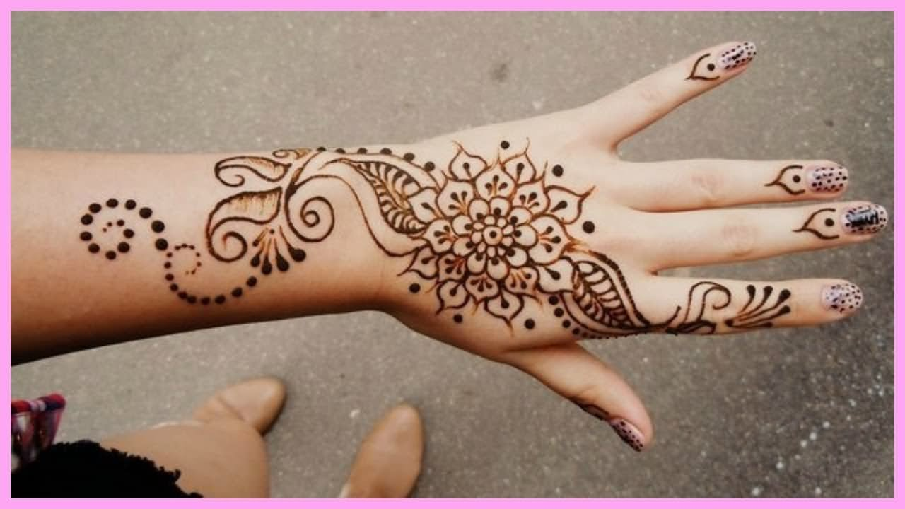 29 simple henna tattoos for Flower tattoos on hand