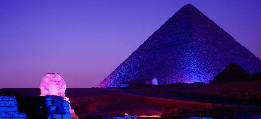 Sound And Light Show At The Great Sphinx Of Giza And Pyramid