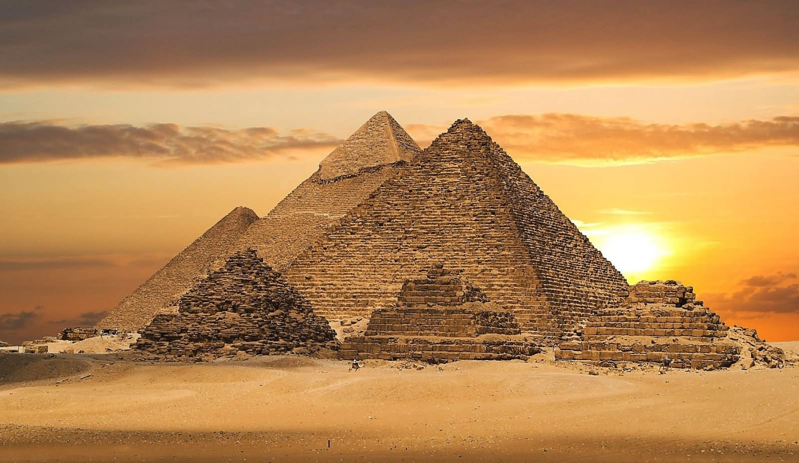 Sunset Image Of The Egyptian Pyramids