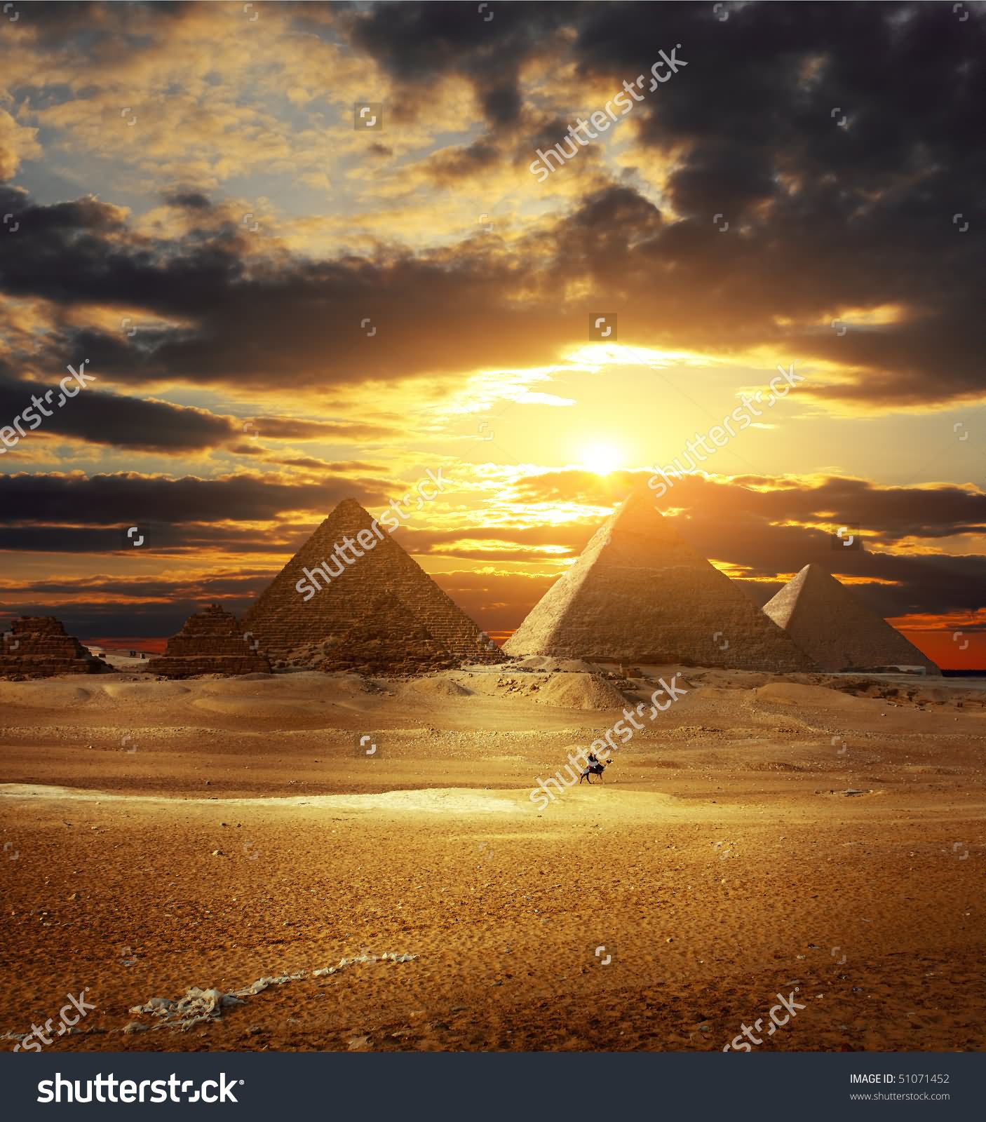 Sunset Over Egyptian Pyramids