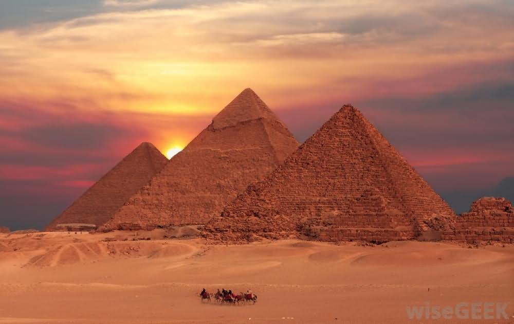 Sunset View Of Egyptian Pyramids