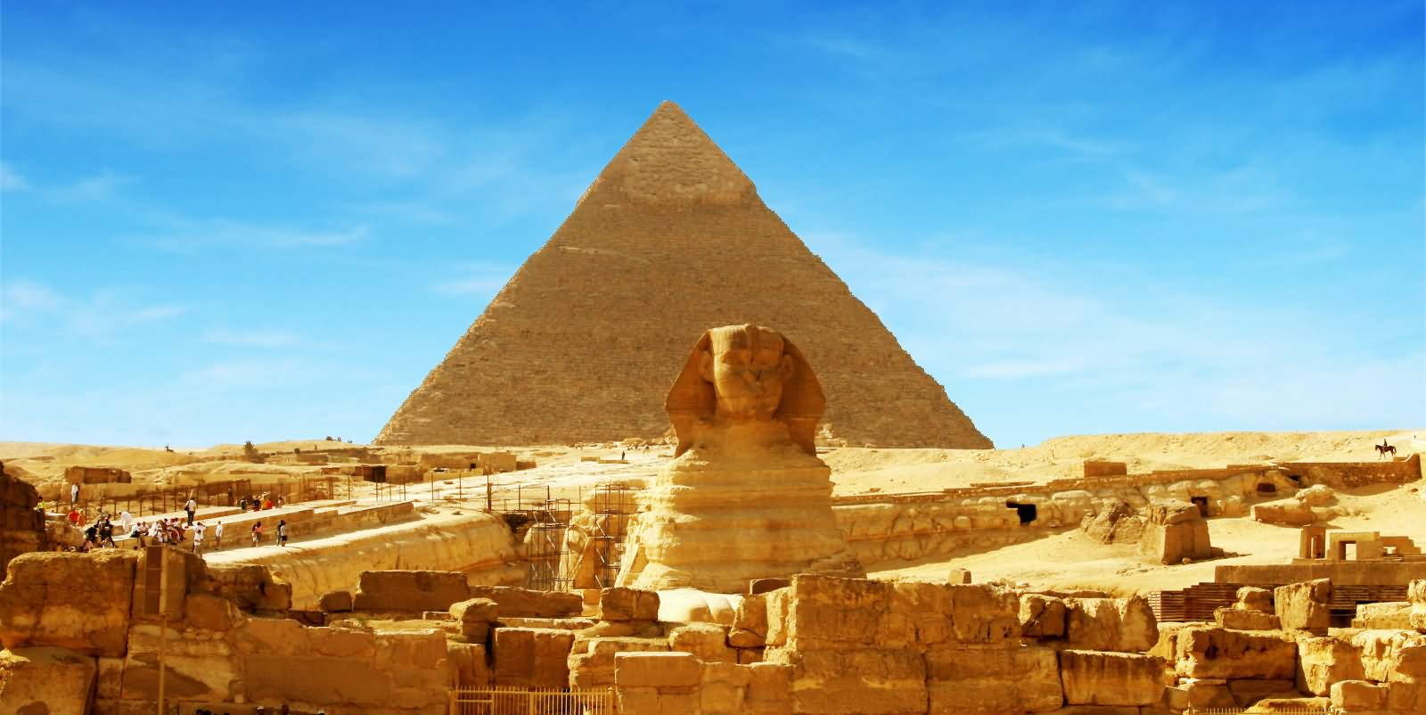 Sunset View Of Great Sphinx of Giza And Pyramid In Background