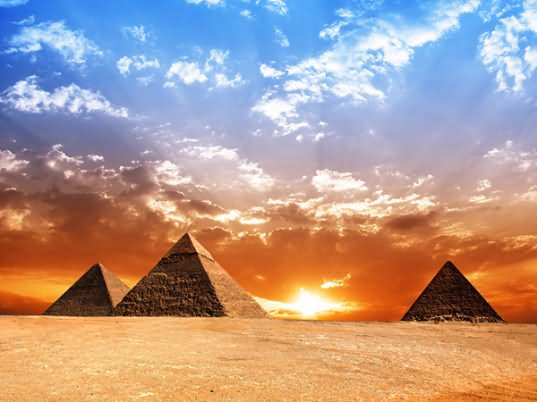 Sunset View Of The Egyptian Pyramids