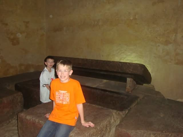 The Burial Chamber Inside The Middle Of Egyptian Pyramid
